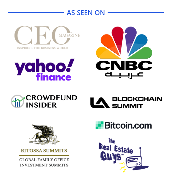 List of Yahoo CNBC Crowdfund Insider LA-Blockchain The Real Estate Guys and Bitcoin and CEO Magazine logos that Liberty Real Estate has collaborated with - as seen on.