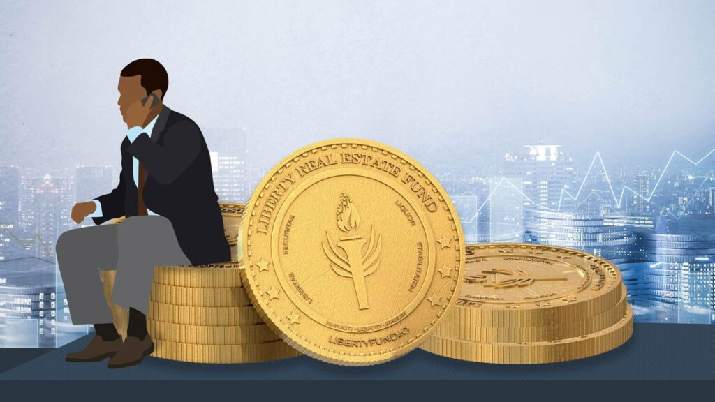 Business man sitting on a stack of coins with the Liberty Real Estate Fund logo.