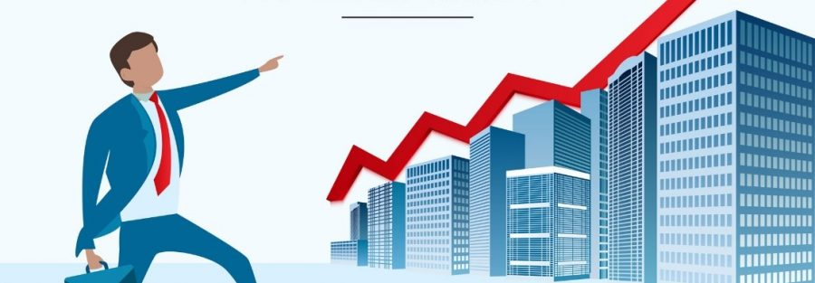 Commercial Real Estate Statistics and Trends 2021 with a man pointing up to buildings and graph trend line showing property prices going up