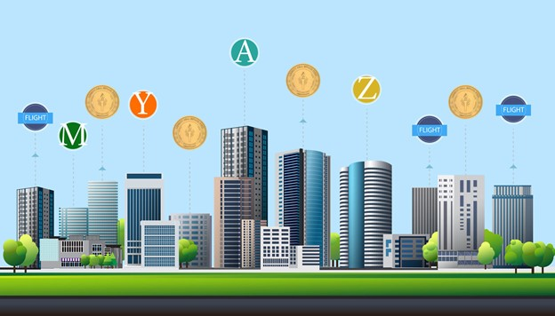 Blockchain Tokens hovering above and connected to the buildings in a city